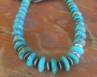 Turquoise and Sterling Silver Rondells Beads Southwestern Native Style Pendant or Charm