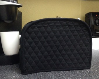 Black 2 Slice Toaster Cover 7.5 Inches Tall Quilted Fabric Kitchen Small Appliance Cover Ready to Ship Next Business Day