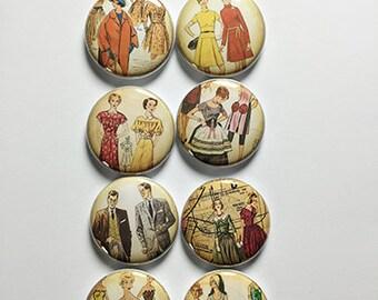 Vintage Sewing Pattern People Flair