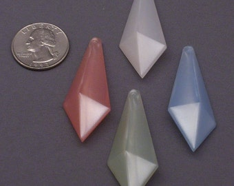 24 Large Pearly Pink, Blue, Green, and White Vintage Lucite Pendants // Easter Crafts