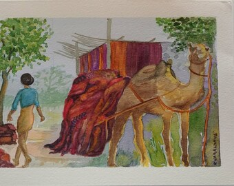 Jaipur Textile Village - original watercolour painting