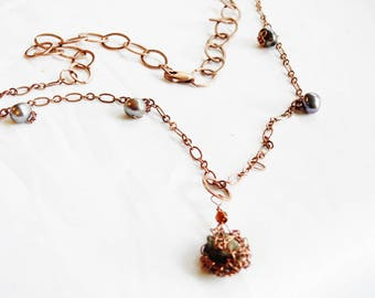Iceland Lava Necklace, Copper Icelandic Statement, Black Freshwater Pearls, Wirecrochet, Lava Jewelry, Unique Iceland Jewellery, Handmade