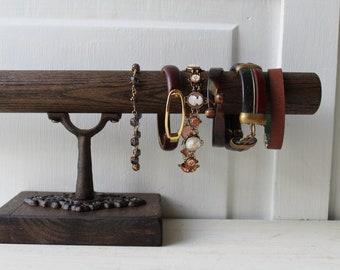 "Rustic Bracelet Display Stand - Oak - Dark Brown Bracelet Holder with Ornate Metal - Salvaged Wood - 14"" - Qty Available"