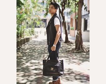 Vintage Chanel Black Caviar Leather XLarge Tote Shoulder Bag Men Women Unisex