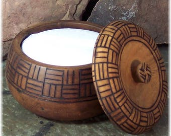 Wood Tribal Style Bowl with Handmade Natural Body Powder and Powder Puff
