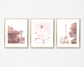 Girl nursery decor girl nursery wall art girl, Paris wall art, hot air balloon nursery, blush pink wall art nursery prints Paris photography