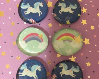Unicorn magnets, rainbow magnets, glass magnets, round magnets, refrigerator magnets, magnet set, cute gift, unicorn, fun gift