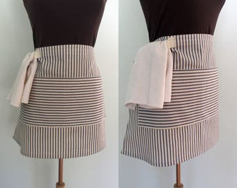 Royal Blue Ticking Bistro Apron, Blue Stripe Half Apron with Pocket and Towel Loop, Waitress Apron, Server Apron, Restaurant Apron