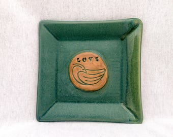 "Square pottery plate/ dish, matte green glaze, bird stamp appliqué, ""love"" bird plate, square plate, bird pottery, square pottery"
