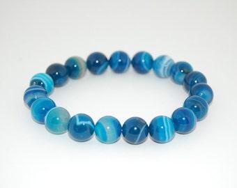 Blue Agate Bracelet,Gemstone 10mm Round Beads Elastic Bracelet Fit All, Gemstone Stretch Bracelet, Mens or Womens, Beaded Jewelry