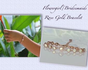 Flower Girl Crystal Bracelet, Swarovski Pearl & Crystal Bracelet, Rose Gold Junior Bridesmaids Bracelet,
