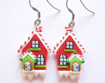 Christmas Earrings, Polymer Clay Jewelry, Christmas Gifts Ideas, Santa Claus Workshop Stocking Stuffers, Stocking Fillers, Christmas Jewelry