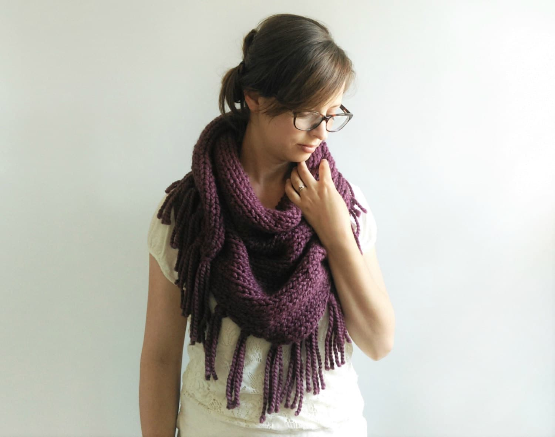 Triangle Shawl Knitting Pattern // Chunky Knit Scarf Pattern