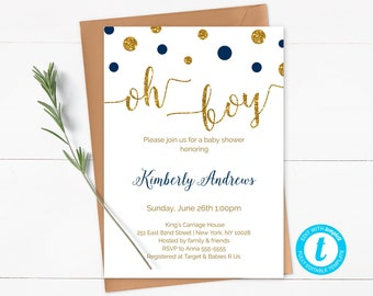 Oh Boy Baby Shower Invitation Template, Navy Blue and Gold Baby Shower Invite, Editable Invitation, Printable, Instant Download - CG3