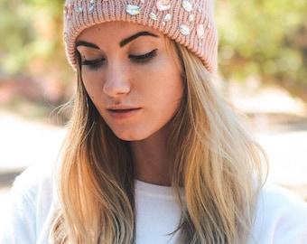 Rose Knit Jeweled Beanie, Warm Pink Knit Hat
