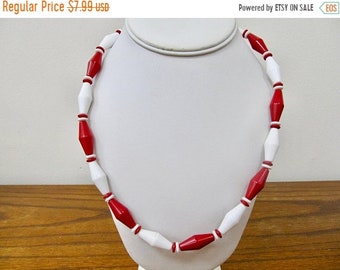 On Sale Vintage Red and White Plastic Beaded Necklace Item K # 1906