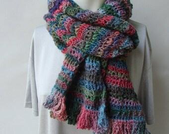 Crochet Scarf, Merino Wool Scarf, Merino Scarf, Color Harmony Scarf, Crocheted Scarf, Striped Scarf, Happy Scarf, Gift for Her, Mom Gift