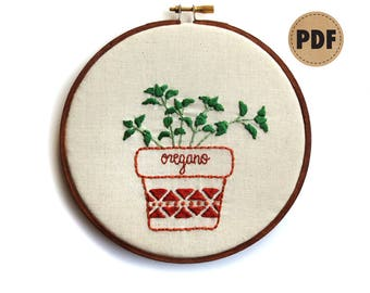 Oregano PDF Embroidery Pattern, Botanical Art, Embroidery Hoop Art, Kitchen Decor, Plant Lover Embroidery Design, Potted Herbs, Plant Pillow