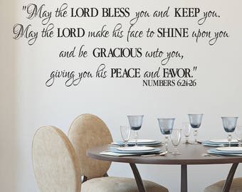 Numbers 6:24-26 - The Lord Bless you and Keep you- Benediction Blessing-  Religious Bible Verse wall vinyl Decal Sticker NUM6V24-0003