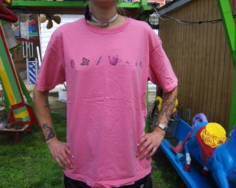 90's GARDEN TOOLS one stripe pink t-shirt by northern reflections