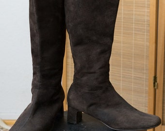 1980s Brown Suede Go Go Boots