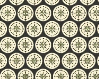 Meridian from Windham Fabrics - Full or Half Yard Compass on Charcoal Black