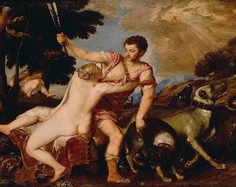 Titian: Venus and Adonis. Fine Art Print/Poster. (001963)