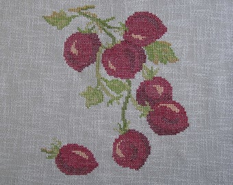 Embroidery red tomatoes