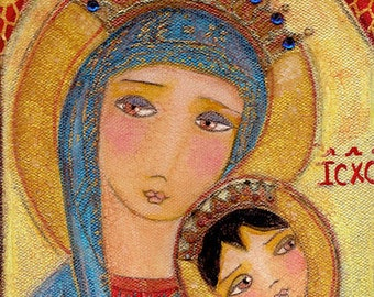 Our Lady of Perpetual Help -   Giclee print mounted on Wood (4 x 4 inches) Folk Art  by FLOR LARIOS
