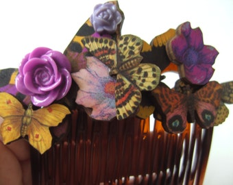 Woodland, wooden, butterflies,Butterfly, flower, hair comb, purple and yellow,feature comb, by NewellsJewels on etsy