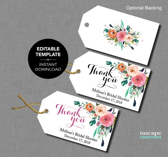 editable bridal shower favor tags template floral rustic With bridal shower favor tags template