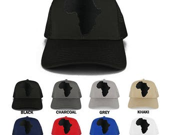 Solid Black Africa Map Embroidered Iron on Patch Adjustable Trucker Mesh Cap (30-287-AFRICA-17)