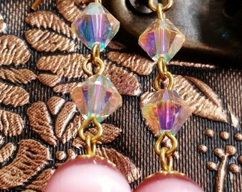 Crystal Aurora Borealis und Rosa Cats Eye Ohrringe