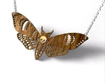 Wooden Deaths Head Moth Necklace
