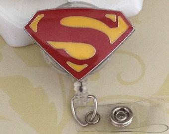 Superman Logo Symbol Retractable ID Badge Reel, Nurse Badge Reel