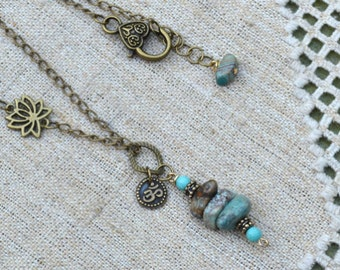 Bohemian Necklace Antiqued Chain Turquoise Ohm Yoga Jewelry