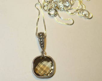 Gorgeous Smoky Quartz Pendant Necklace in Solid Sterling Silver ~ Natural Mined Gemstone VVS Clarity