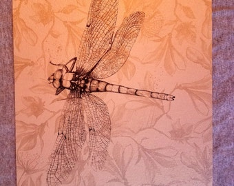 Dragonfly screen printed art