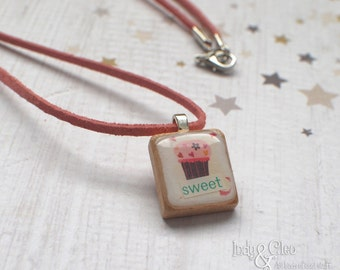Cupcake Collage Scrabble Necklace, Handmade Scrabble Tile Pendant, Wood Pendant, Tiny Dessert Jewelry, Cupcake Lover Gift, sweet