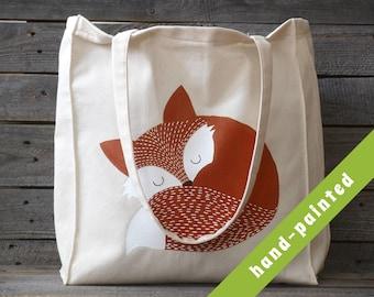 fox gift - sleeping fox tote bag/ birthday gift/ cotton tote bag/ fox gift/ tote bag/ animal bag/ eco bag, animal tote bag
