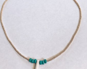 Gold and teal (pendant) necklace