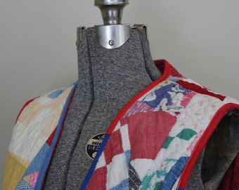 Vintage Crazy Quilt Vest Crafting Clothes for Inspiration Quilters Vest Vest Made From an Antique Quilt Vintage Quilt Vest