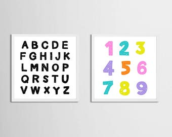 Alphabet and Numbers Art Printable Candy Colors, Set of 2 Art Girl Playroom Wall Art Alphabet, Letters Toddler Room Artwork Pink Purple Art