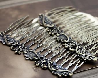 100Pcs Wholesale Antique Brass Filigree hair comb Setting NICKEL FREE(COMBSS-3)