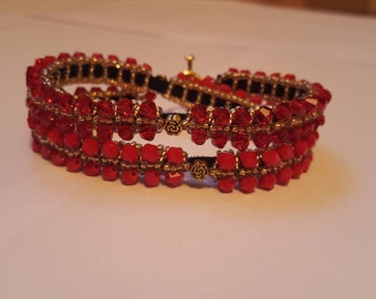 Red double wrapped bracelet