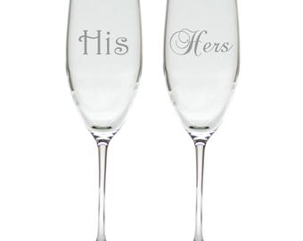 His and Hers Wedding Flutes Champagne Toasting Glasses