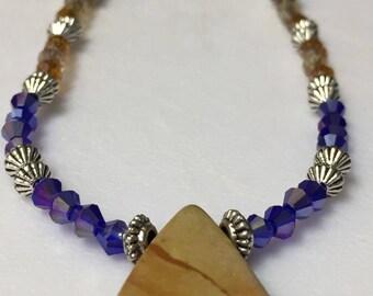 Amber mix and blue Swarovski Necklace