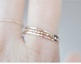 2 Gold filled stacking rings - hammered grooved or faceted rings - delicate filled rings - everyday jewelry - minimalist jewelry / Signe 1mm