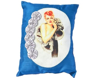 Ermine Lady Pillow Retro Redhead Pin Up Mink Fur Cobalt Sapphire Blue Bombshell Hollywood Regency Home Decor Metallic Silver Satin Rosettes