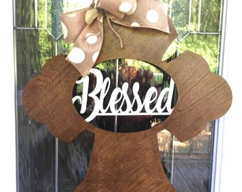 Blessed door hanger, blessed cross door hanger, blessed, cross door hanger, religious gift, home decor, door decor, door hanger